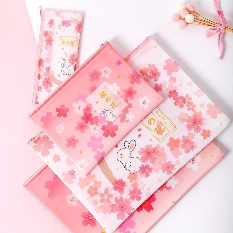 5PCS Stationery Cherry Rabbit Japanese Zipper Mesh Bag A4 A5 B6 File Bag