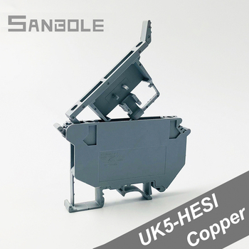 (10PCS) Terminal blocks UK5-HESI UK5RD 4mm2 DIN Rail Mounted Copper Connector Screw Clamp Fuse Terminals UK series
