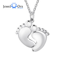 Personalized Baby Footprint Engraved Necklace with 2 Names Customized Women Pendant Necklaces Jewelry Gifts for Mother(NE104082)(China)