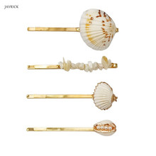 4 Pcs/set Seaside Resort Style Fashion Lady Hairpin Shell Hairpins Sweet Girls Word Clip Hair Accessories Headdress 3 pcs set new simple fashion artificial pearl charming women lady hairpin sweet girls flower hairpins word bangs clip