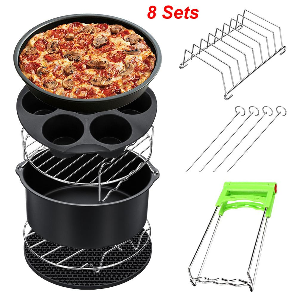 High Quality Air Fryer Accessories 8 Inch For Gowise Phillips Cozyna And Secura, Set Of 8, Fit All Airfryer 3.7 4.2 5.3 5.8QT