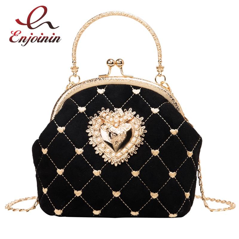 Black & Red Heart Applique Embroidered Pu Leather Suede Fashion Women Handbag Shoulder Bag Crossbody Bag Purses And Handbags