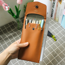 цены Retro PU Leather Pencil Case Pen Cover Sleeve Pouch Fountain Pen Case Storage Business Office School Supplies Stationery