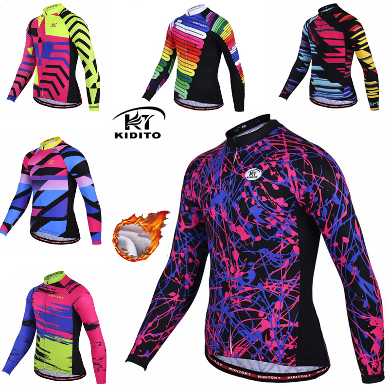 KIDITOKT Cycling jersey Men Winter Thermal cheap clothing china mountain Bike Bicycle Wear Long Sleeve Sport Bicycle Clothing image