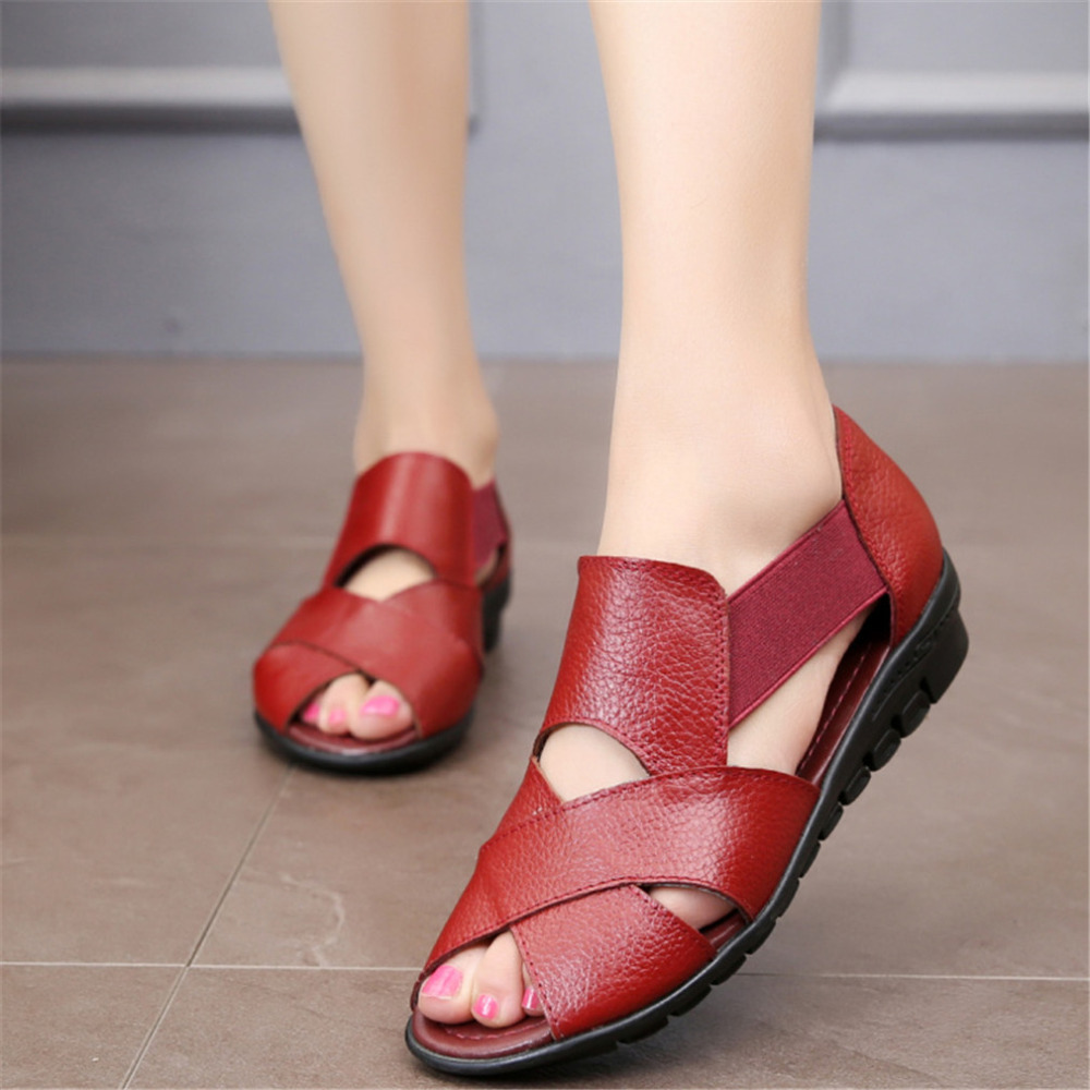 Shoes Women 2019 Summer Sandals Sapato Feminin Non-slip PU Shopping Flat Sole Ladies Sandals For Women Sandalias Mujer 2019