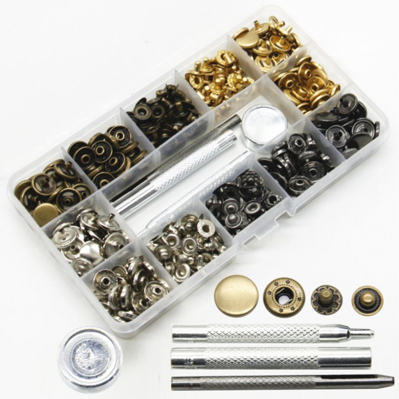 100set/lot 633 Snap button +Installation tool metal Stainless steel panel coat down jacket Fastener DIY Sewing Accessories
