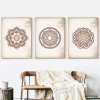 Wall Art Prints Brown Bedroom Wall Decor Mandala Brown Canvas Painting Wall Pictures Living Room Home Decor No Frame Artwork