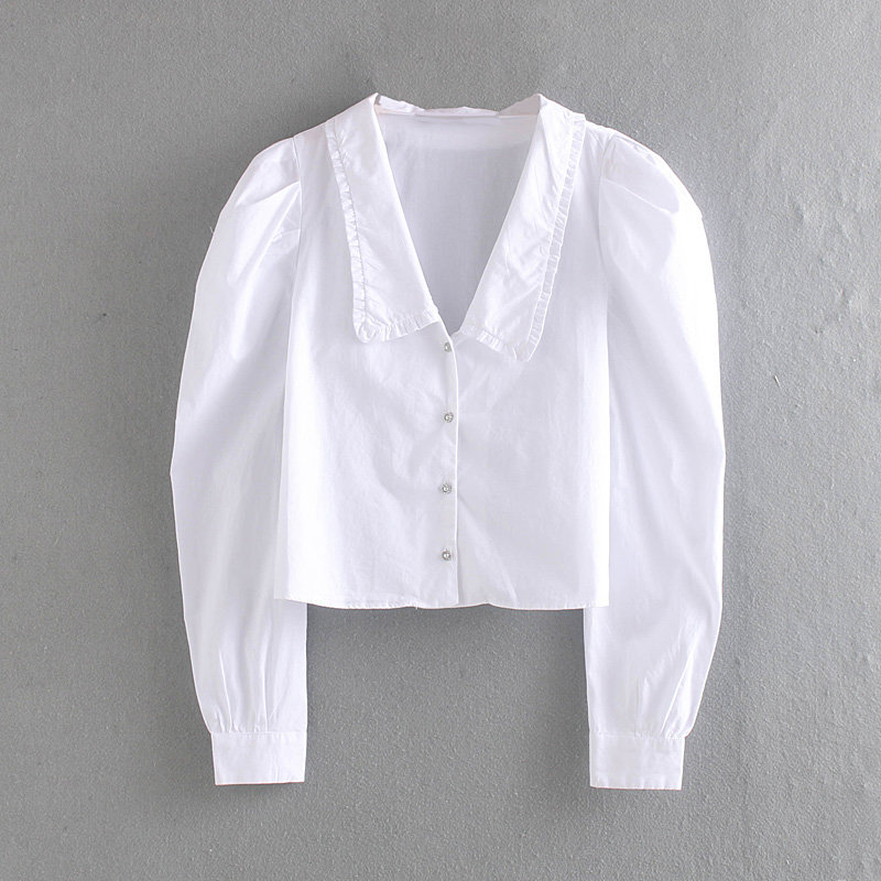 Women Vintage Puff Sleeve Casual White Smock Blouse Shirts Women Agaric Lace Pearl Buttons Blusas Office Femininas Tops LS4205