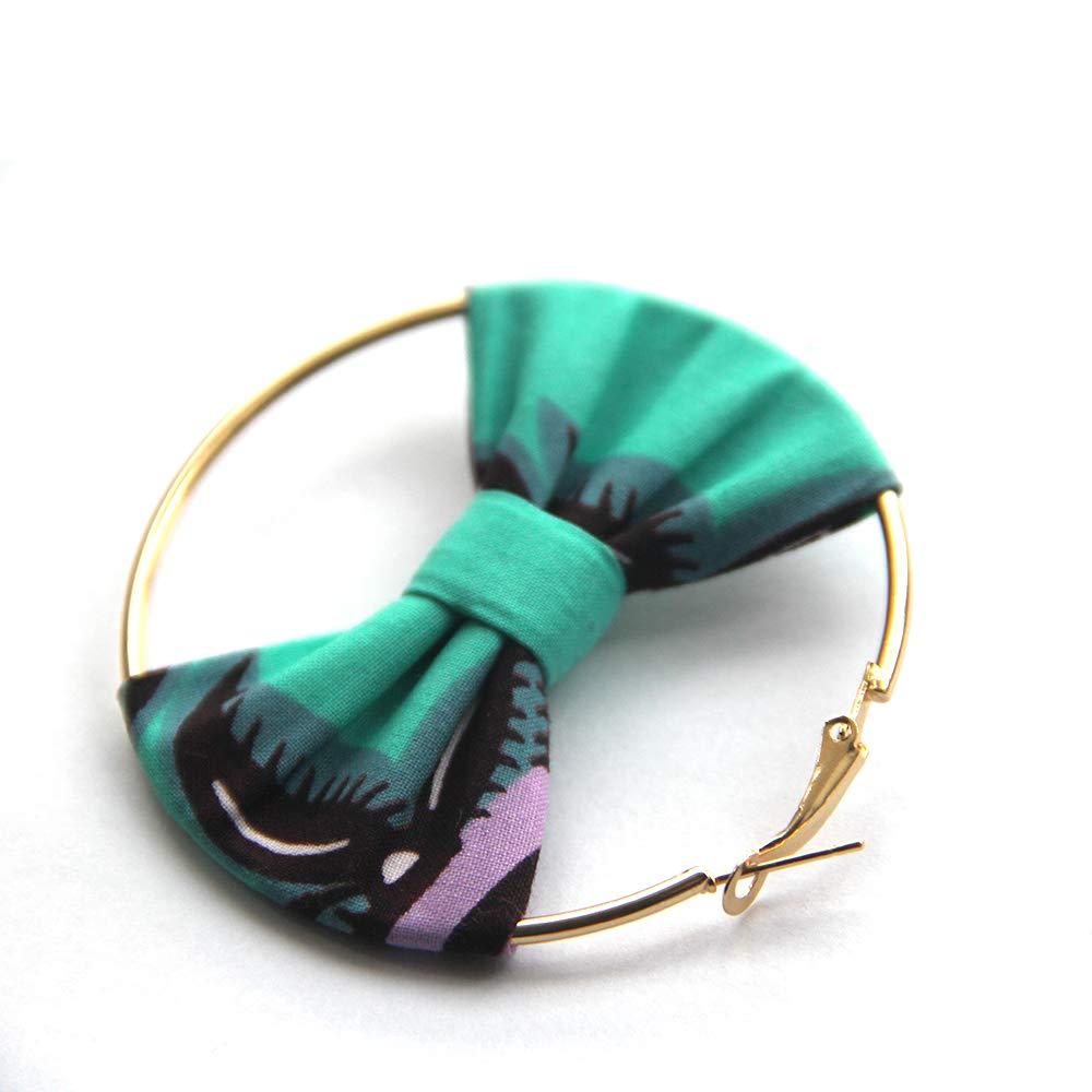 Kureas African Earrings For Women 6CM Africa Handmade Ethnic Ankara Wax Print Fabric Tribal Afro Ear Drop Circle And Bot Tie