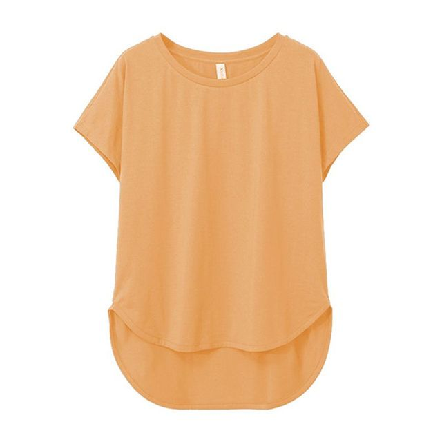 100% cotton Loose Casual Summer Short Sleeve Female T shirt Women  asymmetric O-neck Tee Tops M30326 2