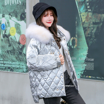 Silver/black/white/green Glossy Real Natural fox Fur Down Parka Winter Jacket Women Coat Female Down Waterproof Snow Outwear Y20 image