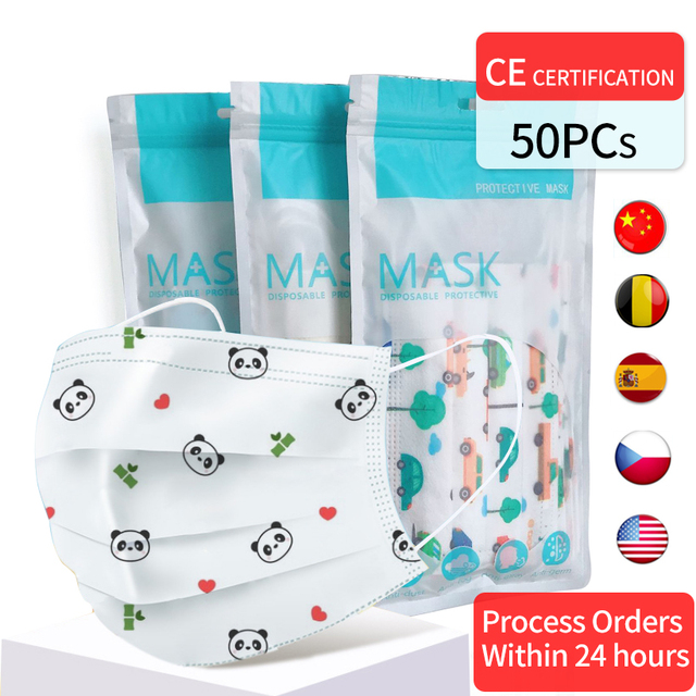 50PCs Disposable Child Face Masks 3 Layer Non Woven Children Breathable Cartoon Panda Pattern Mouth Mask For 4-12 years old Kids