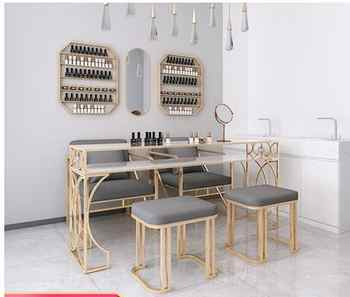 Nordic Manicure Table and Chair Set online celebrity Marble Manicure Table Iron Art Single Double Three Economy - DISCOUNT ITEM  27 OFF Furniture