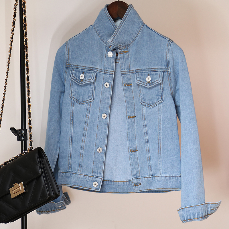 H19f572006306440caddc4a6a64f06357B Jeans Jacket and Coats for Women 2019 Autumn Candy Color Casual Short Denim Jacket Chaqueta Mujer Casaco Jaqueta Feminina