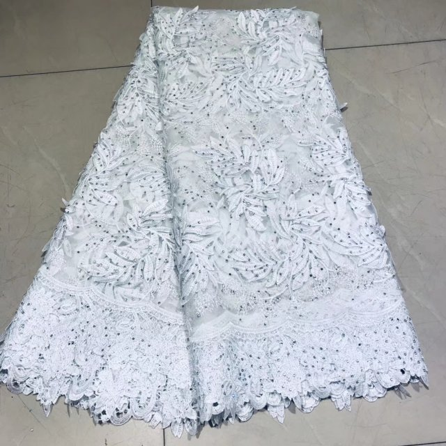 New Veritable French Lace African Swiss Tulle Lace Fabric Floral 3D Embroidery Nigerian Sewing High Quality Fabric