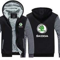 Winter Version men warm thicken for Skoda sweatshirt hoodies Collar coat for male warm thicken jackets f