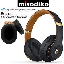 Misodiko almohadillas para los oídos de cuero con espuma viscoelástica, para Beats Studio 3,0 y 2,0, con cable/inalámbrico, B0500 B0501
