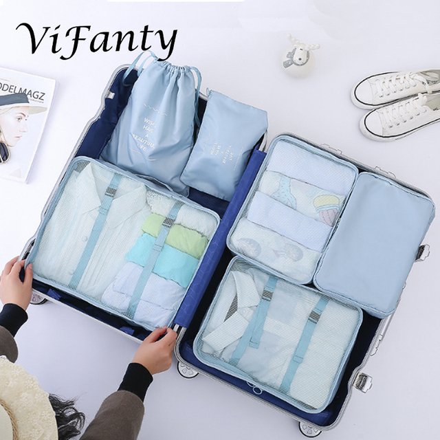 Vifanty 6 Set Packing Cubes,Various Sizes Travel Luggage Packing Organizers with drawstring bag
