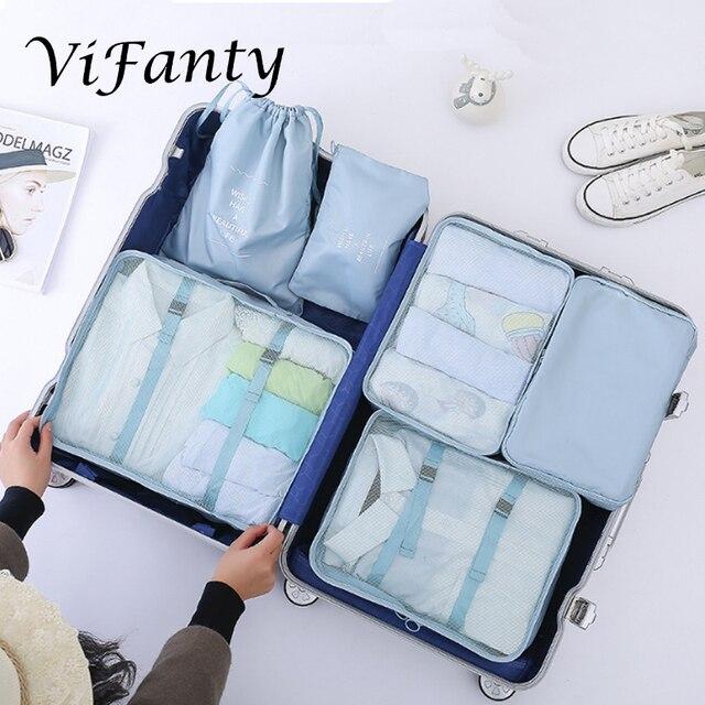 Vifanty 6 ชุดก้อนบรรจุ,ขนาดต่างๆกระเป๋าเดินทางพร้อมกระเป๋า