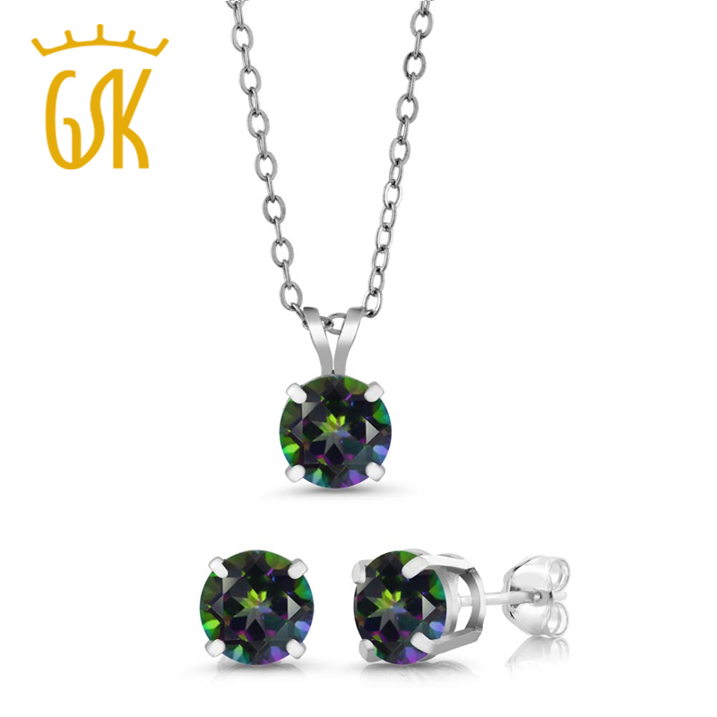 Green AMETHYST Sterling SILVER Necklace 3 Gemstone set Pendant 925 Silver Chain