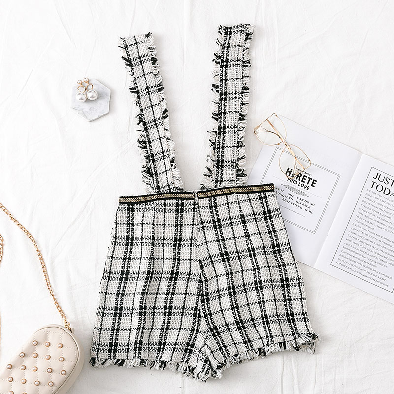 Mossha Asymmetry Vintage High waist tweed skirts womens 19 autumn winter Fringe strap button culottes female Sexy party skirt 11