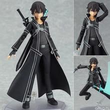 New Arrivals 15cm Sword Art Online Kirigaya Kazuto Kirito Figma Figure CHN Ver/Model Doll With Sword Weapon Action Figure Toy