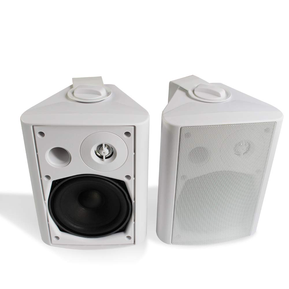 herdio 5 25 inch 200 watts indoor outdoor bluetooth patio speakers with powerful bass all weather wall mount system white