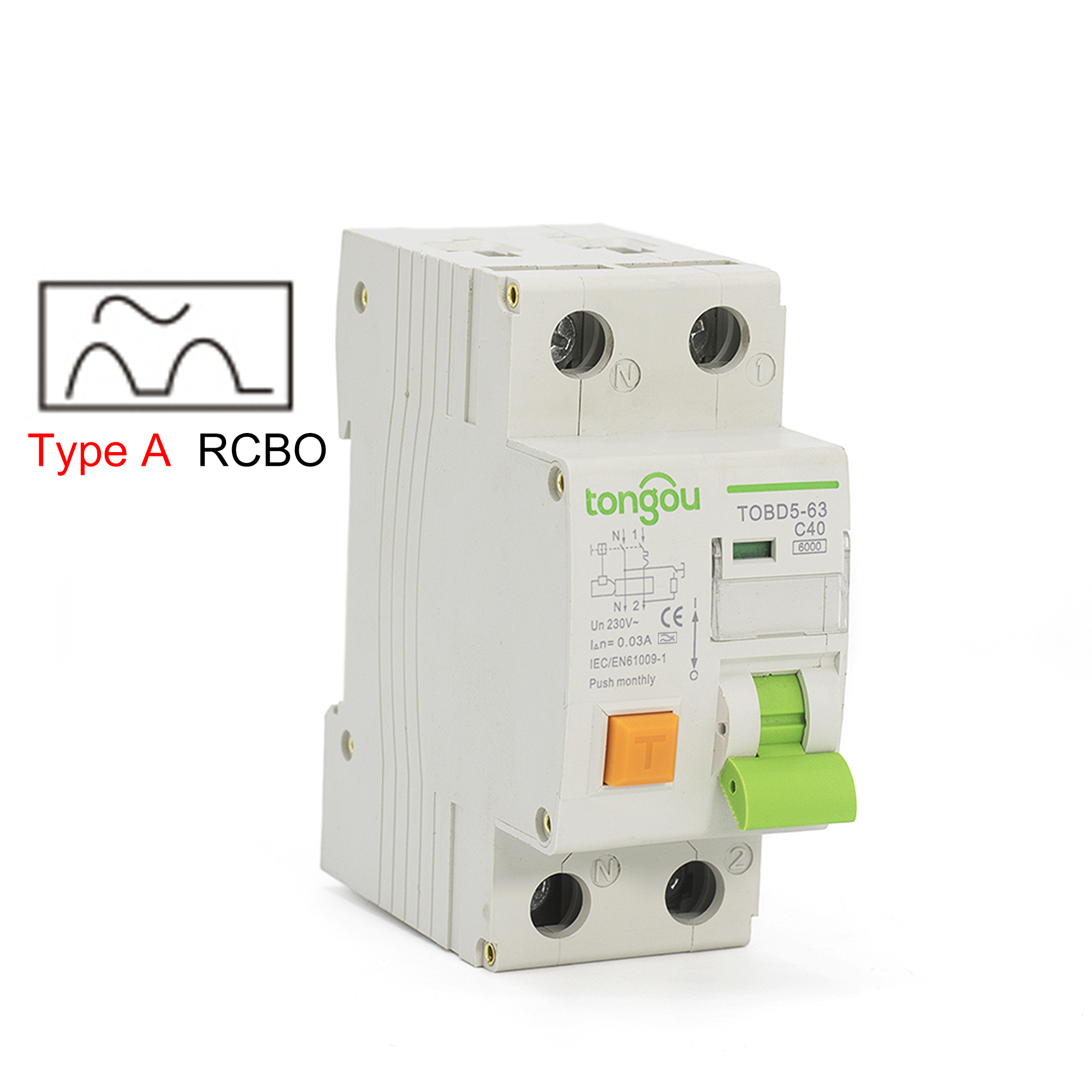 Type A 6KA RCBO 10A 16A 25A 32A 40A Electromechanical Residual Current Circuit Breaker With Over Current and Leakage Protection