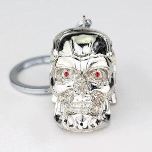 Image 2 - 10 unids/lote joyas de plata joyería de moda colgante película el exterminador esqueleto llavero de máscara calavera llavero para hombres llavero de coche