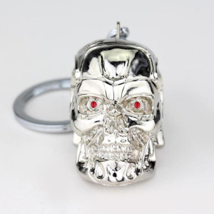 Image 2 - 10pcs/lot Fashion Jewelry Silvery Jewelry Pendant Movie Terminator Skeleton Mask keychain Skull Key Ring For Men Car Key Chain