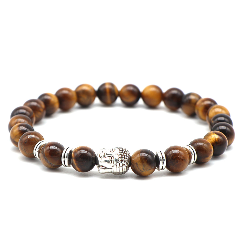 AngqiJewelryTiger eyes Beads Bracelet Men Charm Natural Stone Braslet For Man Handmade Casual Jewelry Size 8mm