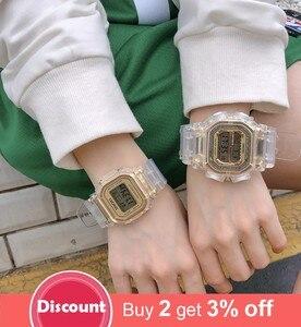 Image 2 - Moda mężczyzna kobiet zegarki złoty Casual przezroczysty zegarek sportowy cyfrowy zegarek kochanka zegar na prezent wodoodporny zegarek dziecięcy dla dzieci