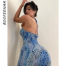 BOOFEENAA Sexy Imprimé Bleu Dos Nu Robe Moulante Fête D'été Vacances Robes pour Les Femmes Club Plage Tenues C16-AI17