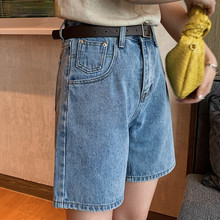 Fashion 2021 Summer Half Women Denim Shorts High Waist Belted Loose Female Short Jeans Streetwear Ladies Daily Bermuda Bottoms