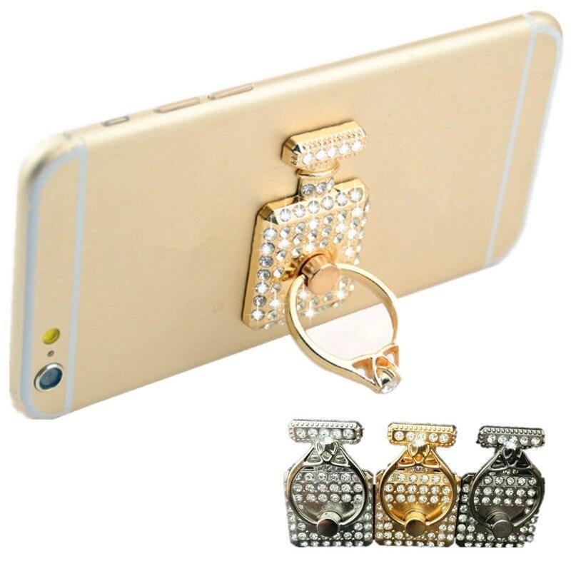 Diamond Perfume Bottle Shape Finger Ring Phone Holder Stand Universal Mobile Phone I Ring Stand Holder For Smartphones Pipsocket
