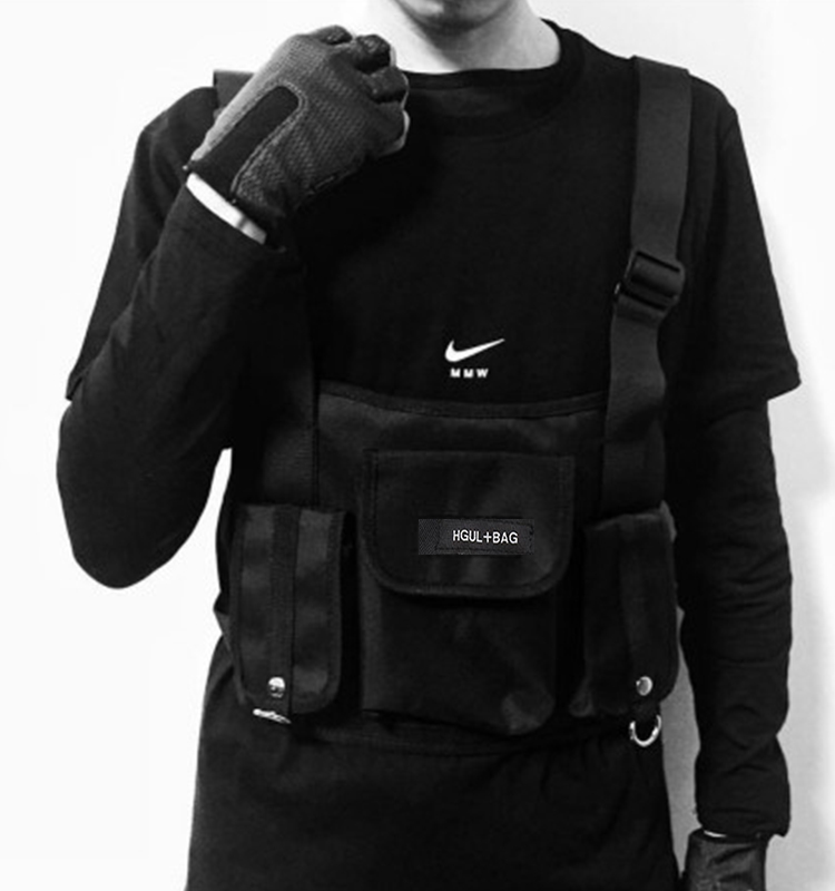 H19f6809be1e244dea7e7992ea18976e72 - Fashion Chest Rig Bag Hip Hop Streetwear Functional Tactical Chest Bags Cross Shoulder Bag Kanye West backpack waist bag black
