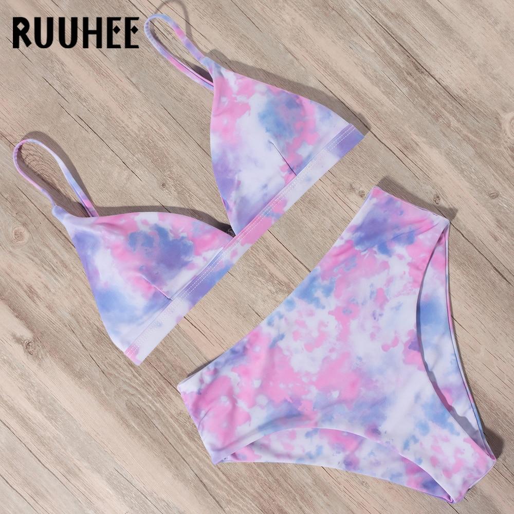 RUUHEE Tie Dye 2020 Bikini Swimwear Swimsuit Women Solid Bathing Suit Bikini Set With Pad Female High Waist Beachwear Biquini