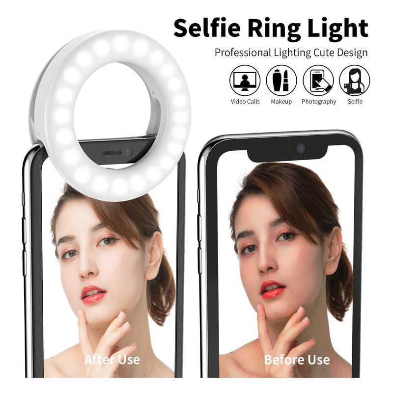 Live Stream Dimmable 3-Light Mode 9-Level Brightness Facebook Makeup YouTube Video XIAOXIN LED Ring Light Clamp-on Selfie Light for Phone Holder for Video Shooting
