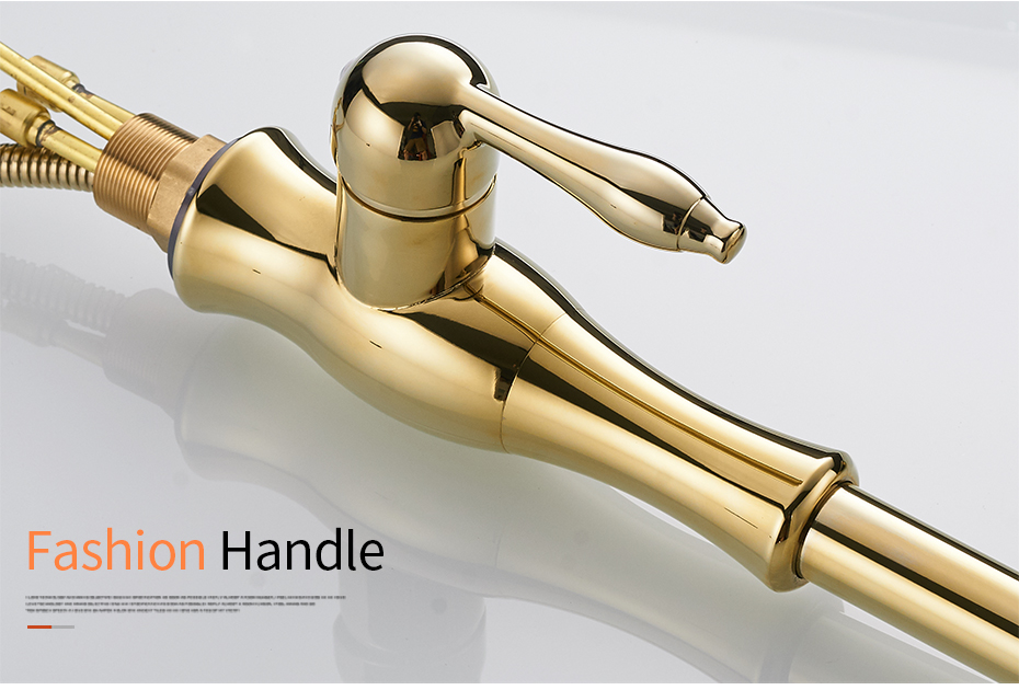 H19f6878d130c44cd86474d8a5ae03dbbI Gold Kitchen Faucets Silver Single Handle Pull Out Kitchen Tap Single Hole Handle Swivel Degree Water Mixer Tap Mixer Tap 866011