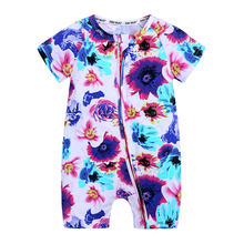 Floral Print Newborn Baby Clothes Zipper Baby Romper Cotton Short Sleeve Toddler Costume Summer Infant Clothing 3-24 Months(China)