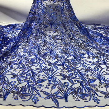 Madison Embroidery Sequins Lace Fabric Royal Blue Nigerian Net Lace African Mesh Tulle Lace for Bridal Materials Sequence Fabric