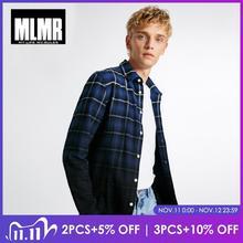 MLMR men fashion cotton straight gradient plaid washing long sleeved shirt