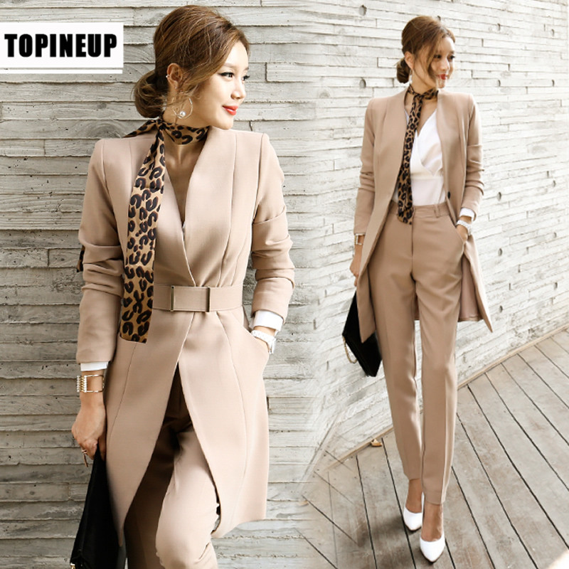 2020  Business Ladies Women Two Piece Outfits  Formal OL Style Elegant Skinny Long Blazer Pants Two Pieces Sets