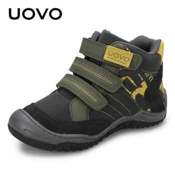 2020 UOVO New Arrival połowy łydki buty dla chłopców moda dla dzieci buty sportowe marki Outdoor codzienne tenisówki dziecięce dla chłopców rozmiar 26 #-36 # tanie i dobre opinie RUBBER Pasuje prawda na wymiar weź swój normalny rozmiar 10 t Hook loop Stałe Spring Autumn Anti-śliskie Poliester