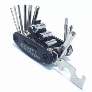 Ferramentas da bicicleta reparação conjunto de 15 em 1 multifunções bicicleta reparação kit chave ciclo chave chave chave de fenda ferramenta aço carbono