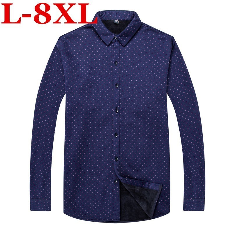 Plus Size 8XL 7XL 6XL  Shirt Men Winter Clothes  Casual  Thick Warm Shirt  Mens Cashmere Long-sleeved Fleece Thermal Shirts