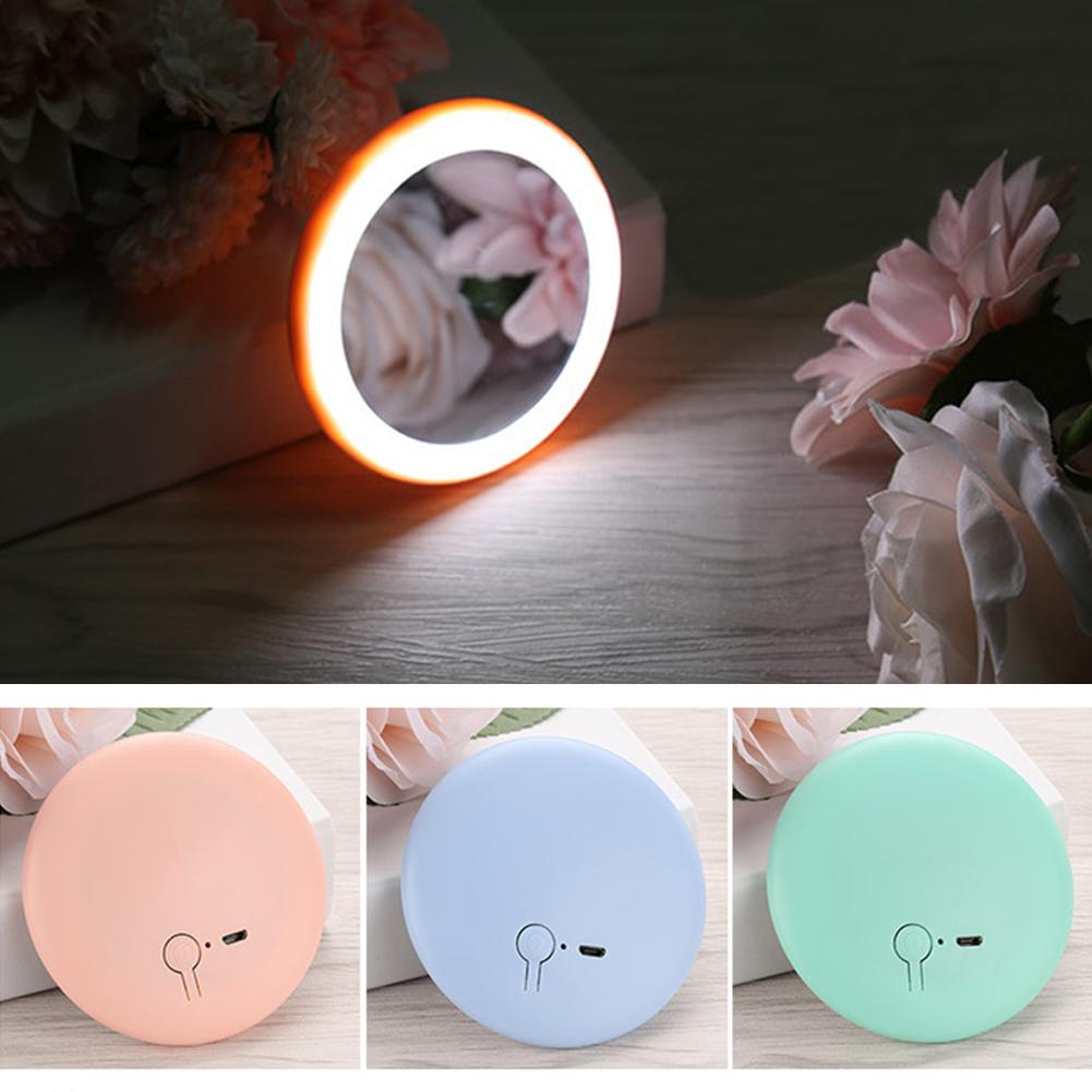 New Portable LED Lighted Mini Circular Makeup Mirror Compact Travel Sensing Lighting Cosmetic Mirror Wireless USB Charging