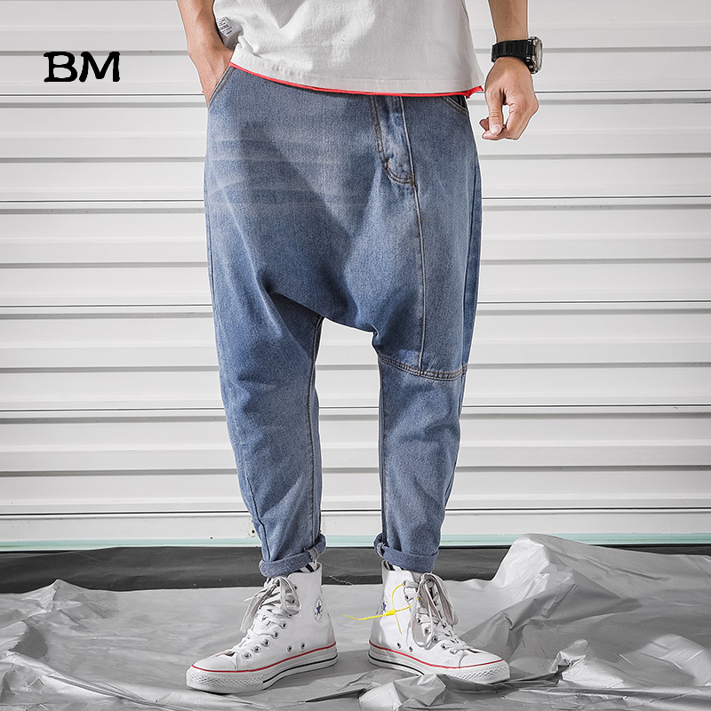 Streetwear Fashions Baggy Pants Men Denim Harem Pants Hip Hop Joggers Big Size 5XL Loose Blue Jeans 2019 Kpop Korean Trousers