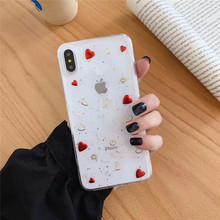 JAMULAR Bling Glitter Love Heart Moon Star Case For iPhone XR X XS MAX 8 7 6 6s Plus Soft TPU Clear Phone Cover Transparent Capa