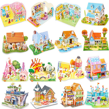Puzzle 3D Attractive Cartoon Castle Garden Zoo Princess House Jigsaw Interesting Learning Educational Toys For Children Kid Gift image